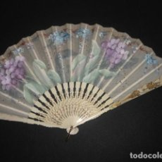 Antigüedades: ABANICO DE FLORES, VARILLAJE HUESO/MARFIL. Lote 201309543