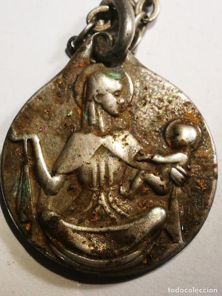 Antigüedades: Medalla Antigua de Plata Lor Jesu Sacratissimun detrás Virgen María con el Niño Jesús con cadena pla - Foto 2 - 201314072