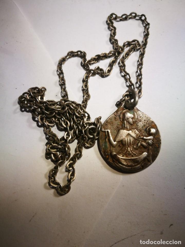 Antigüedades: Medalla Antigua de Plata Lor Jesu Sacratissimun detrás Virgen María con el Niño Jesús con cadena pla - Foto 3 - 201314072