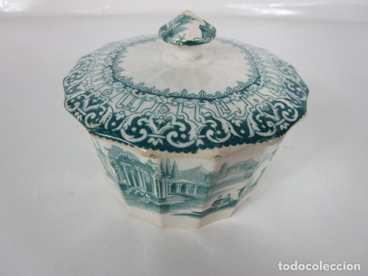 PRECIOSA AZUCARERA - LOZA - REAL FÁBRICA DE PICKMAN - S. XIX (Antigüedades - Porcelanas y Cerámicas - Sargadelos)