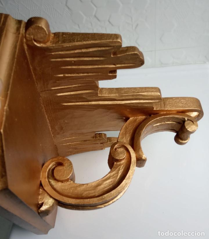 Antigüedades: ménsula de madera tallada con pan de oro - Foto 4 - 201468776