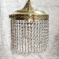 Antigüedades: EXCELENTE LAMPARADE COLGAR DE BRONCE Y CRISTALES, ELECTRIFICADA. Lote 201471325