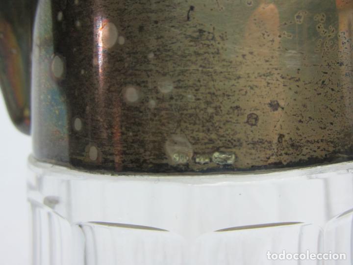 Antigüedades: Jarra para agua en cristal y plata de ley s.XX - Foto 3 - 201493786