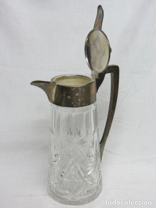 Antigüedades: Jarra para agua en cristal y plata de ley s.XX - Foto 4 - 201493786
