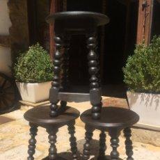 Antigüedades: TABURETES CASTELLANOS , BANQUETA MADERA TORNEADA. Lote 201500088