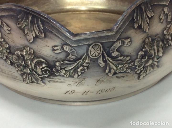 Antigüedades: Antigua cesta de 1908 baño de plata. 18x17x18cm - Foto 2 - 201559297