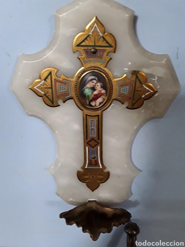 Antigüedades: Benditera con Virgen de la silla - Foto 3 - 92319472