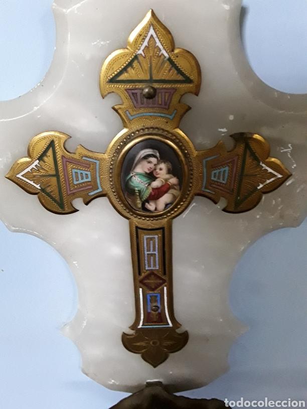 Antigüedades: Benditera con Virgen de la silla - Foto 4 - 92319472