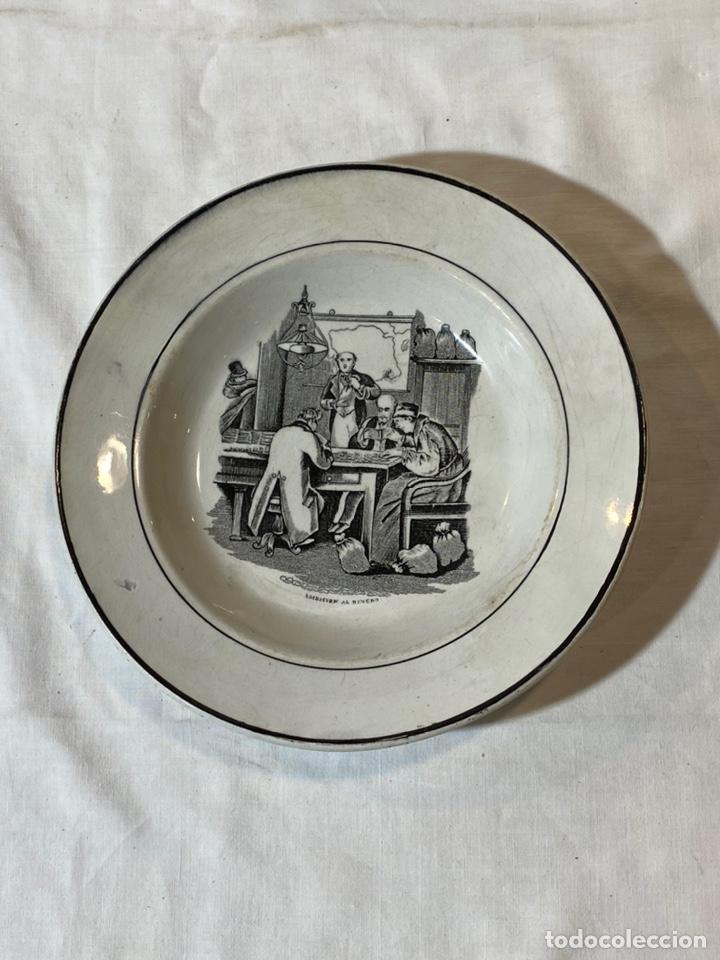 PLATO CARTAGENA S.XIX AMBICION AL DINERO (Antigüedades - Porcelanas y Cerámicas - Cartagena)