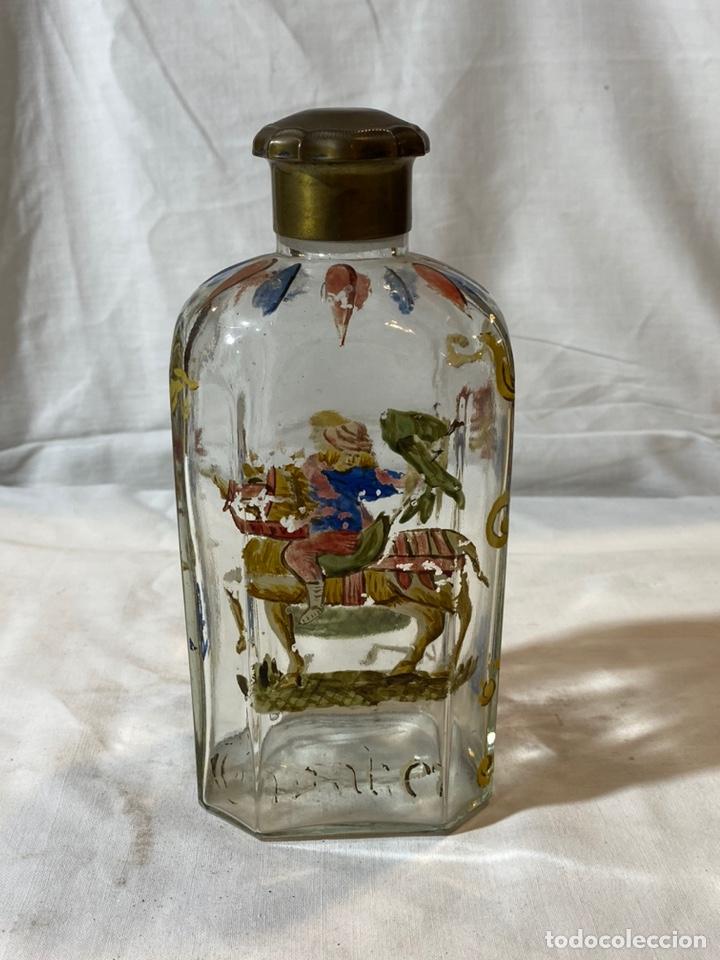 Antigüedades: Botella cristal esmaltado al fuego, s XIX - Foto 3 - 201646325