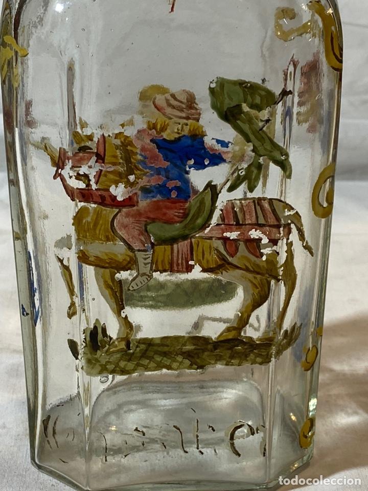 Antigüedades: Botella cristal esmaltado al fuego, s XIX - Foto 4 - 201646325