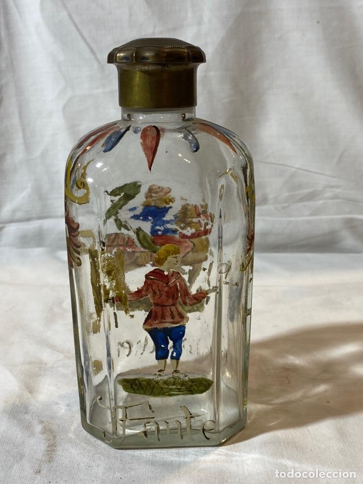 BOTELLA CRISTAL ESMALTADO AL FUEGO, S XIX (Antigüedades - Cristal y Vidrio - La Granja)