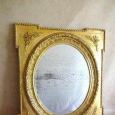 Antigüedades: ANTIGUO ESPEJO ISABELINO PAN DE ORO RESTAURADO CRISTAL ORIGINAL! 77 CM X 66 CM. Lote 149959338