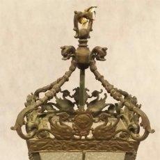 Antigüedades: FAROL - FAROLA - LÁMPARA DE BRONCE VINTAGE ADORNADA CON AVES. Lote 201771521