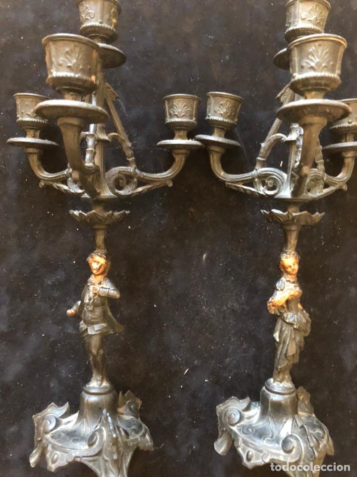 PAREJA DE CANDELABROS,BRONCE. (Antigüedades - Iluminación - Candelabros Antiguos)