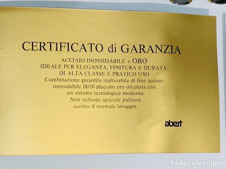 Antigüedades: Cuberteria Italiana Abert. Acero Inox. 18/10 & Oro 24ct. 12 Serv./75 piezas. Premium. 70/80s. Nueva. - Foto 9 - 201827911