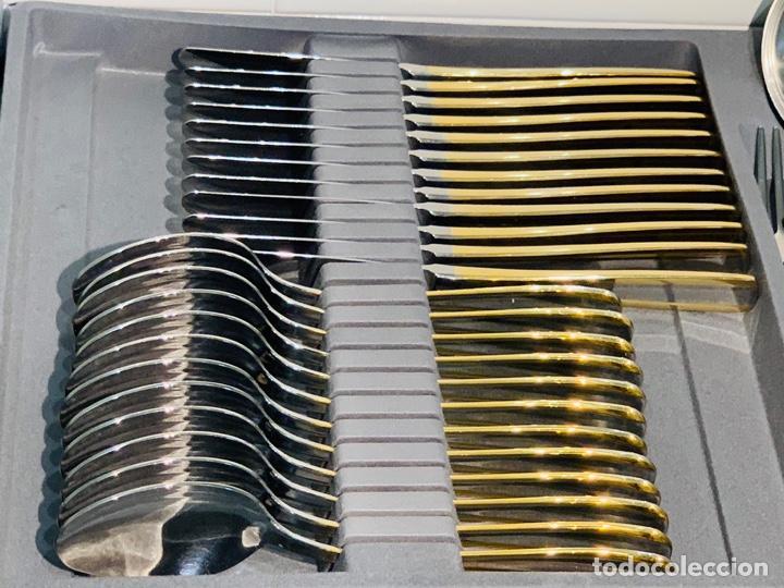 Antigüedades: Cuberteria Italiana Abert. Acero Inox. 18/10 & Oro 24ct. 12 Serv./75 piezas. Premium. 70/80s. Nueva. - Foto 39 - 201827911