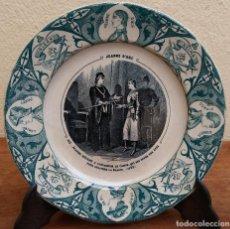 Antigüedades: MUY ESCASO Y ANTIGUO PLATO DE PORCELANA FRANCESA J. VIEILLARD, JUANA DE ARCO, BORDEAUX, (1845-1895). Lote 201923135
