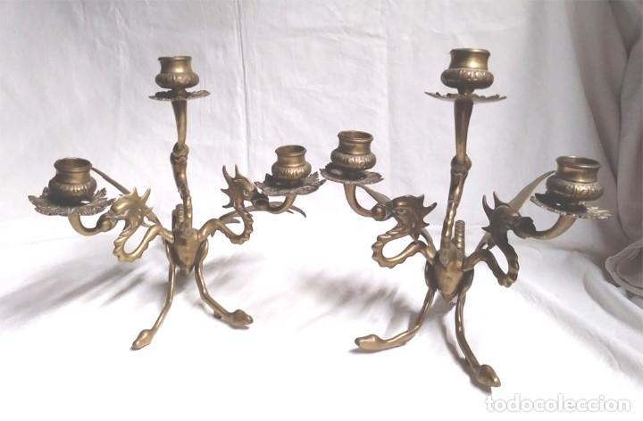 Antigüedades: Pareja Candelabros forja bronce época Modernista S XIX, Dragon Tricefalo, únicos de Colección - Foto 17 - 201946866