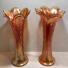 Antigüedades: CARNIVAL GLASS, PAR DE JARRONES.. Lote 202017003