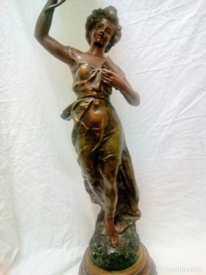 Antigüedades: Antigua Escultura en calamina y cristal . La declamación de Kossowsky.Siglo XlX. 85 cm de alto. - Foto 2 - 202040991