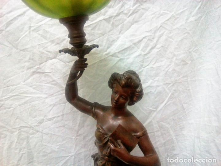 Antigüedades: Antigua Escultura en calamina y cristal . La declamación de Kossowsky.Siglo XlX. 85 cm de alto. - Foto 3 - 202040991