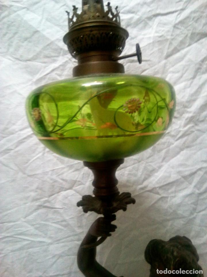 Antigüedades: Antigua Escultura en calamina y cristal . La declamación de Kossowsky.Siglo XlX. 85 cm de alto. - Foto 4 - 202040991