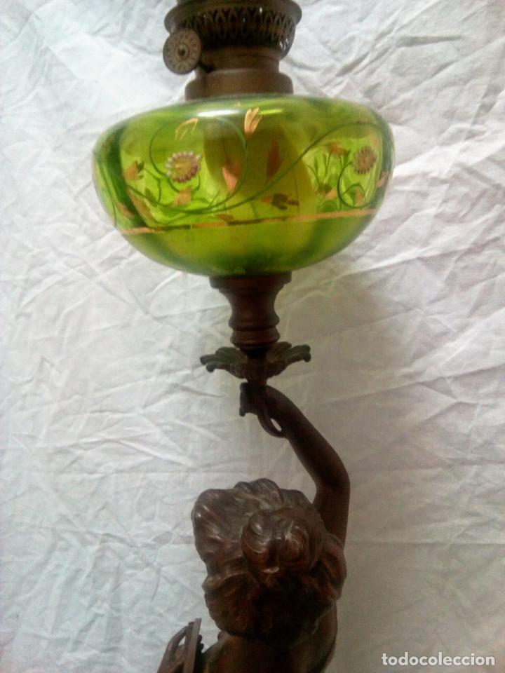 Antigüedades: Antigua Escultura en calamina y cristal . La declamación de Kossowsky.Siglo XlX. 85 cm de alto. - Foto 5 - 202040991