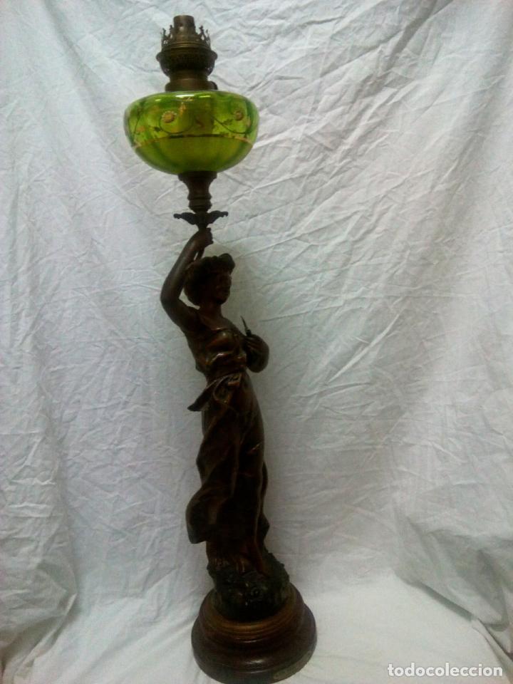 Antigüedades: Antigua Escultura en calamina y cristal . La declamación de Kossowsky.Siglo XlX. 85 cm de alto. - Foto 7 - 202040991