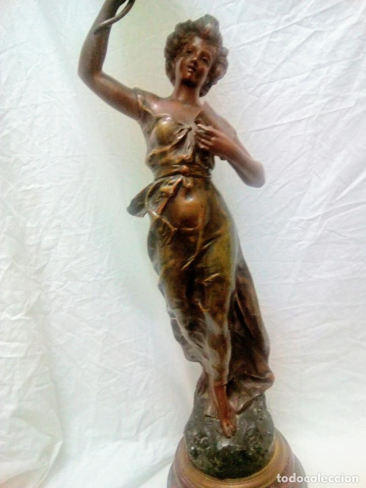 Antigüedades: Antigua Escultura en calamina y cristal . La declamación de Kossowsky.Siglo XlX. 85 cm de alto. - Foto 9 - 202040991