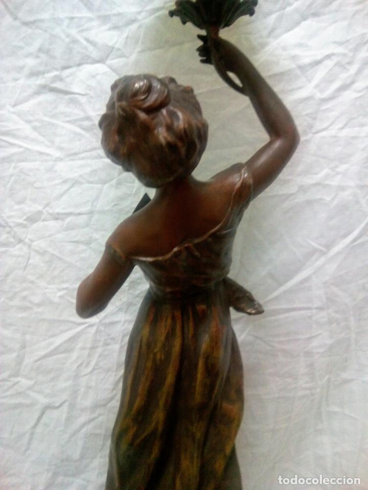 Antigüedades: Antigua Escultura en calamina y cristal . La declamación de Kossowsky.Siglo XlX. 85 cm de alto. - Foto 11 - 202040991