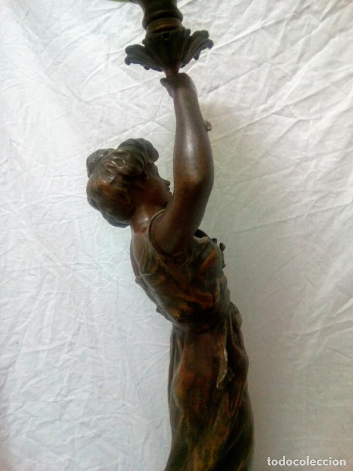 Antigüedades: Antigua Escultura en calamina y cristal . La declamación de Kossowsky.Siglo XlX. 85 cm de alto. - Foto 12 - 202040991