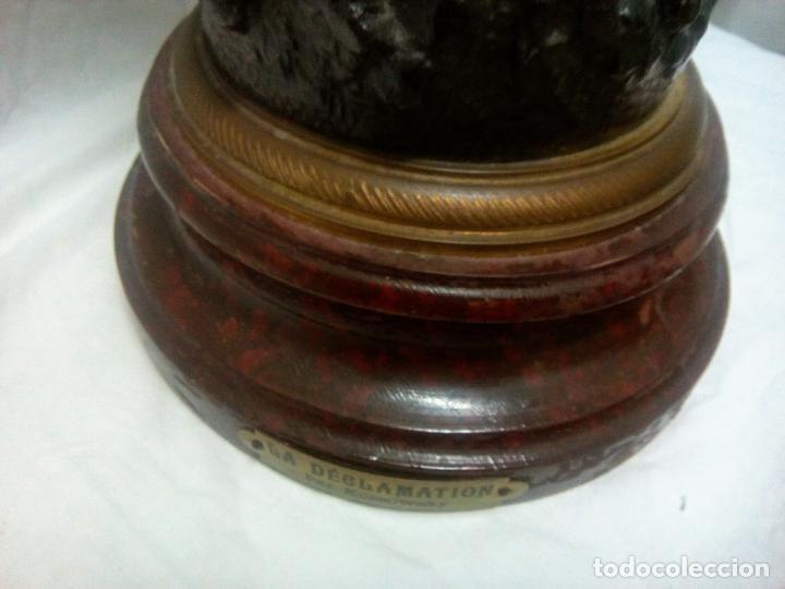 Antigüedades: Antigua Escultura en calamina y cristal . La declamación de Kossowsky.Siglo XlX. 85 cm de alto. - Foto 21 - 202040991