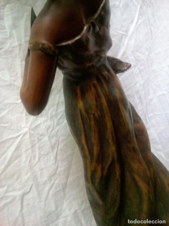 Antigüedades: Antigua Escultura en calamina y cristal . La declamación de Kossowsky.Siglo XlX. 85 cm de alto. - Foto 26 - 202040991