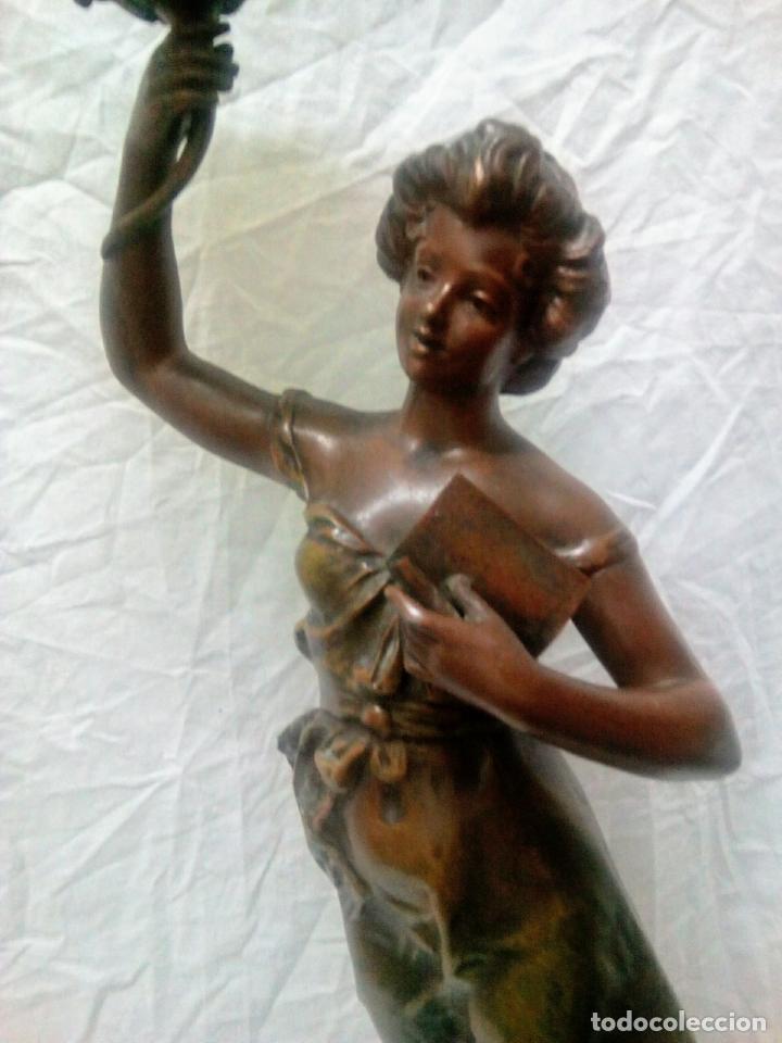 Antigüedades: Antigua Escultura en calamina y cristal . La declamación de Kossowsky.Siglo XlX. 85 cm de alto. - Foto 30 - 202040991
