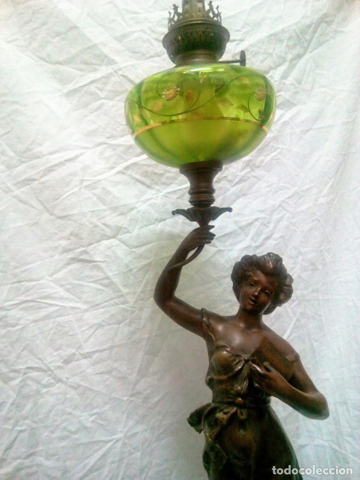 Antigüedades: Antigua Escultura en calamina y cristal . La declamación de Kossowsky.Siglo XlX. 85 cm de alto. - Foto 34 - 202040991