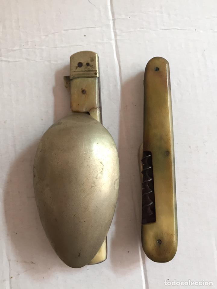 Antigüedades: Antigua cuchara ,tenedor y abridor plegables - Foto 4 - 202077661