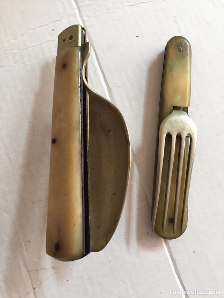 Antigüedades: Antigua cuchara ,tenedor y abridor plegables - Foto 5 - 202077661