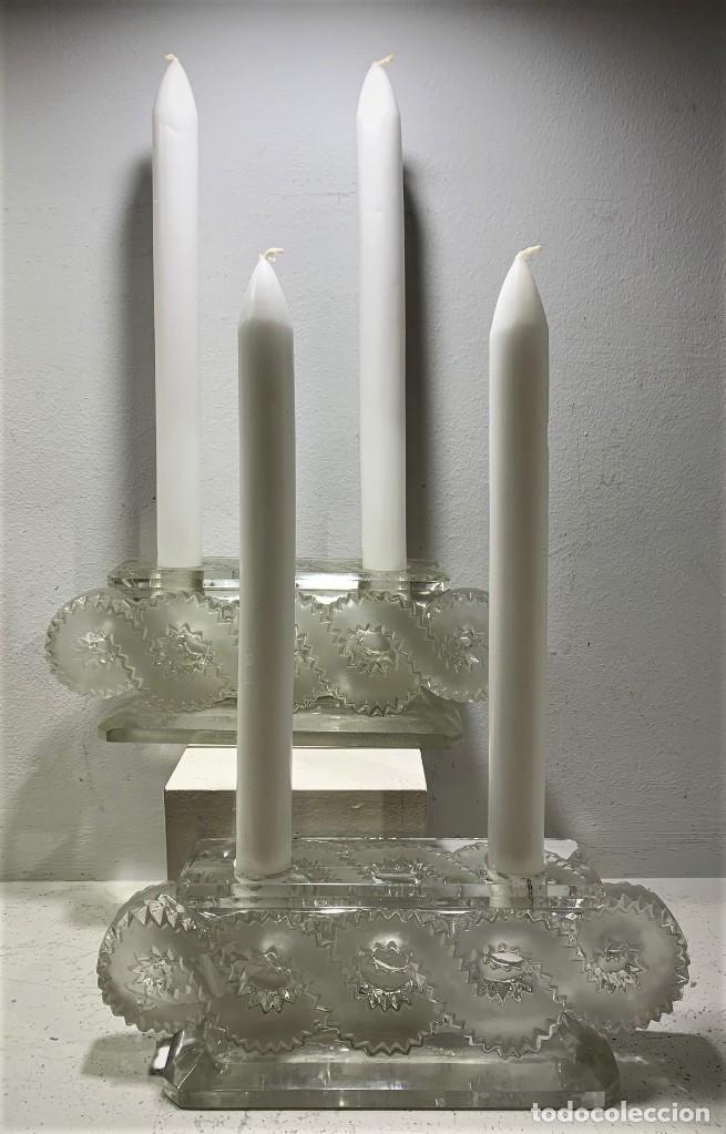 LALIQUE, PAR DE CANDELABROS AURIAC (Antigüedades - Cristal y Vidrio - Lalique )