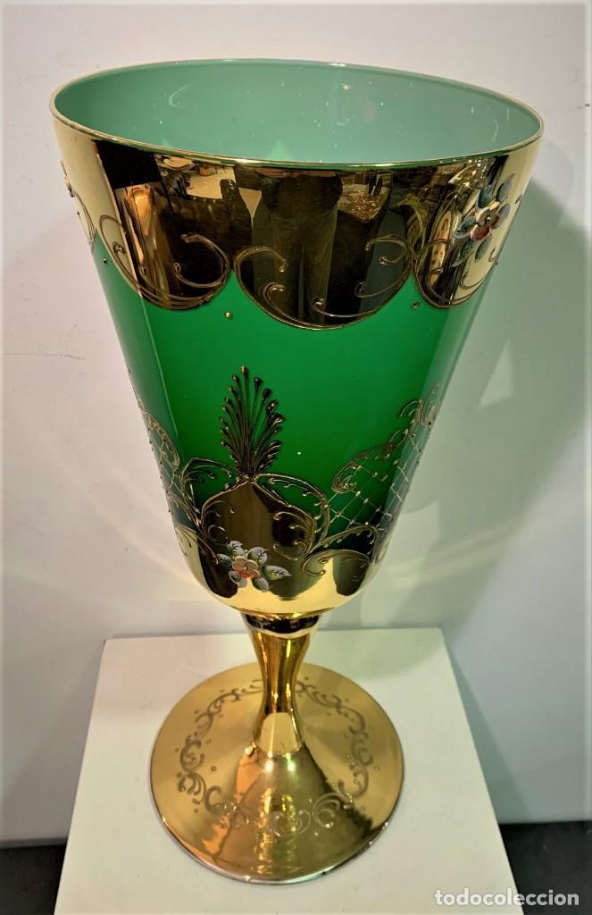 MURANO, COPA CON ADORNOS EN ORO Y ESMALTES. (Antigüedades - Cristal y Vidrio - Italiano)