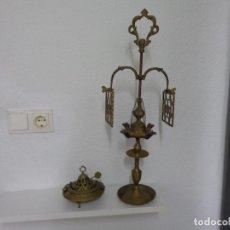 Antigüedades: LAMPARA ACEITE LUCERNARIA CANDIL VELON QUINQUE + BRASERO MINITURA BRONCE LATON DECORACION. Lote 202275975