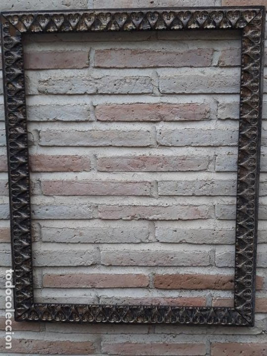 Antigüedades: 2 ) MARCO ANTIGUO EN MADERA CON ESTUCO DORADO. - Foto 2 - 202318275
