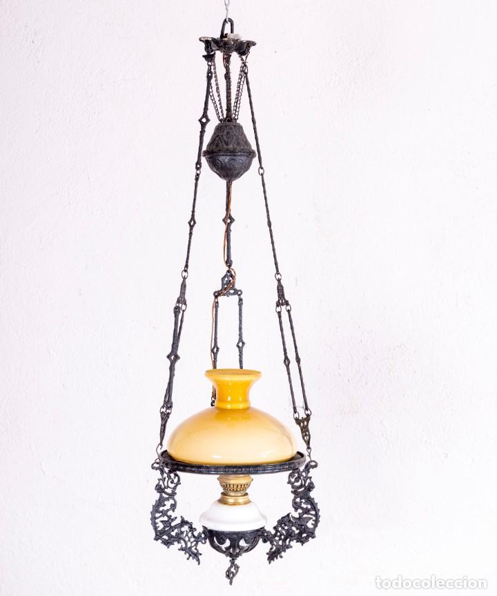 LÁMPARA QUINQUÉ DE TECHO ANTIGUA (Antigüedades - Iluminación - Quinqués Antiguos)