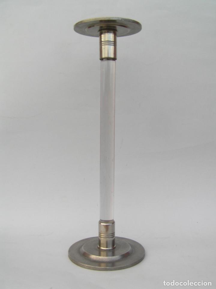 Antigüedades: Sombrerero de sobremesa. Cristal y metal . Finales siglo XIX. 34 cm. - Foto 2 - 202346245