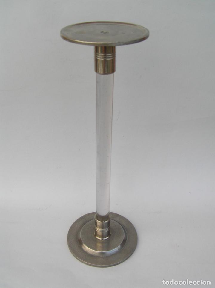 Antigüedades: Sombrerero de sobremesa. Cristal y metal . Finales siglo XIX. 34 cm. - Foto 3 - 202346245