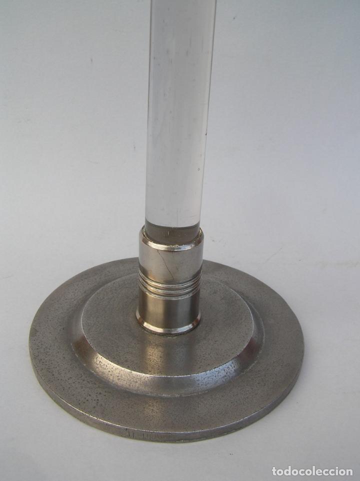 Antigüedades: Sombrerero de sobremesa. Cristal y metal . Finales siglo XIX. 34 cm. - Foto 5 - 202346245