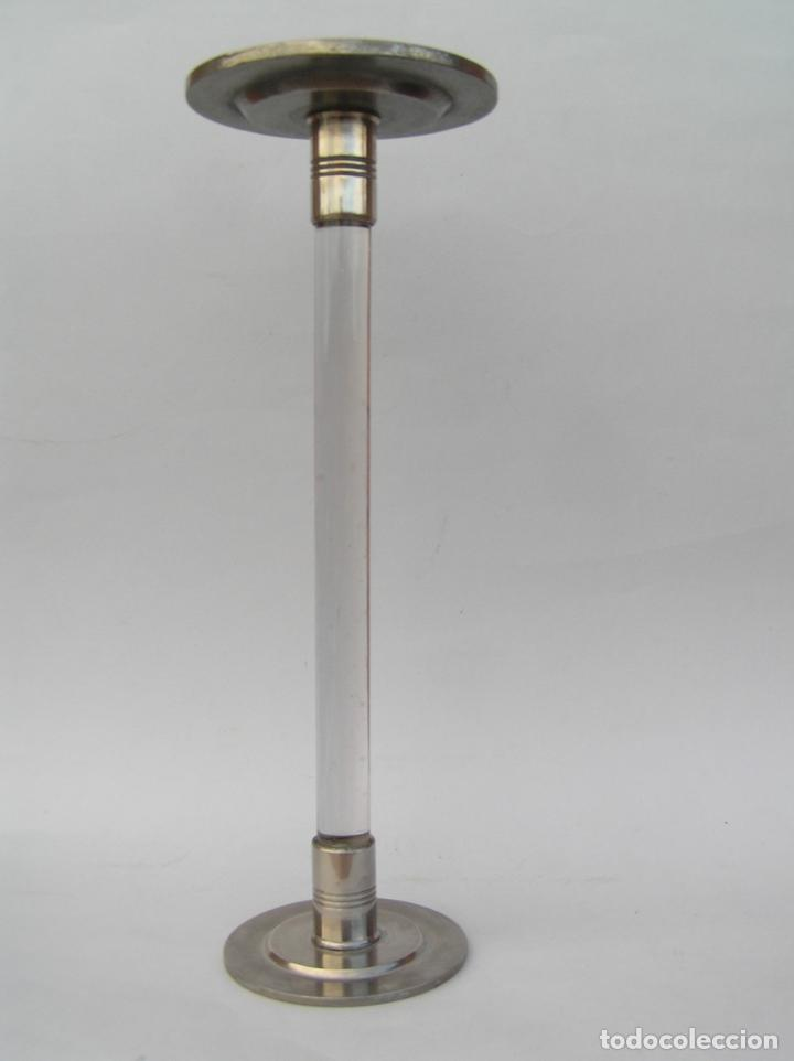 Antigüedades: Sombrerero de sobremesa. Cristal y metal . Finales siglo XIX. 34 cm. - Foto 14 - 202346245