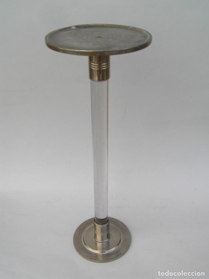 Antigüedades: Sombrerero de sobremesa. Cristal y metal . Finales siglo XIX. 34 cm. - Foto 15 - 202346245