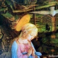 Antigüedades: TRÍPTICO RELIGIOSO RÍGIDO. VIRGEN CON NIÑO Y ADORACIÓN DE ARCÁNGELES EN CORO CELESTIAL. 82 POR 41 CM. Lote 202382430