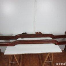 Antigüedades: PAREJA DE GALERÍAS PARA CORTINAS - MADERA DE CAOBA - BONITA MOLDURA - SOPORTES DE PARED - S. XIX. Lote 202406545